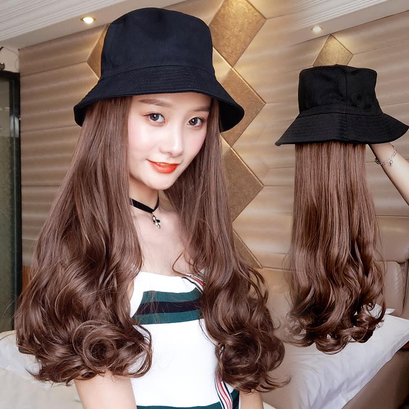 假发女长发大波浪直发长卷发玉米烫羊毛卷假发帽子一体时尚秋冬款