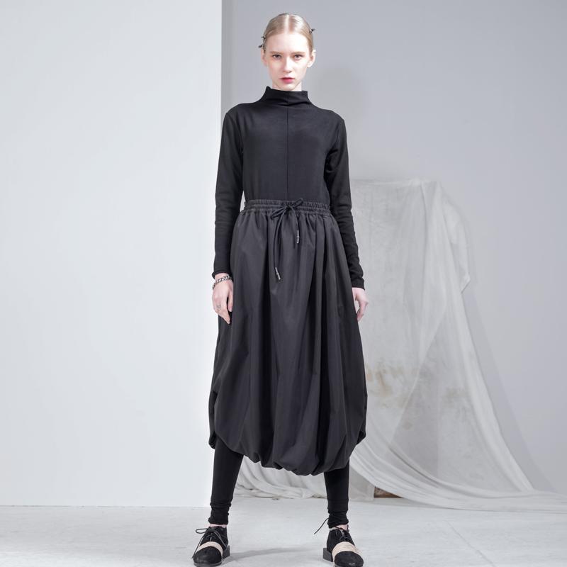 Ambermi Homie原创设计女装黑色系带半身裙包裙半身长裙a字高腰厚