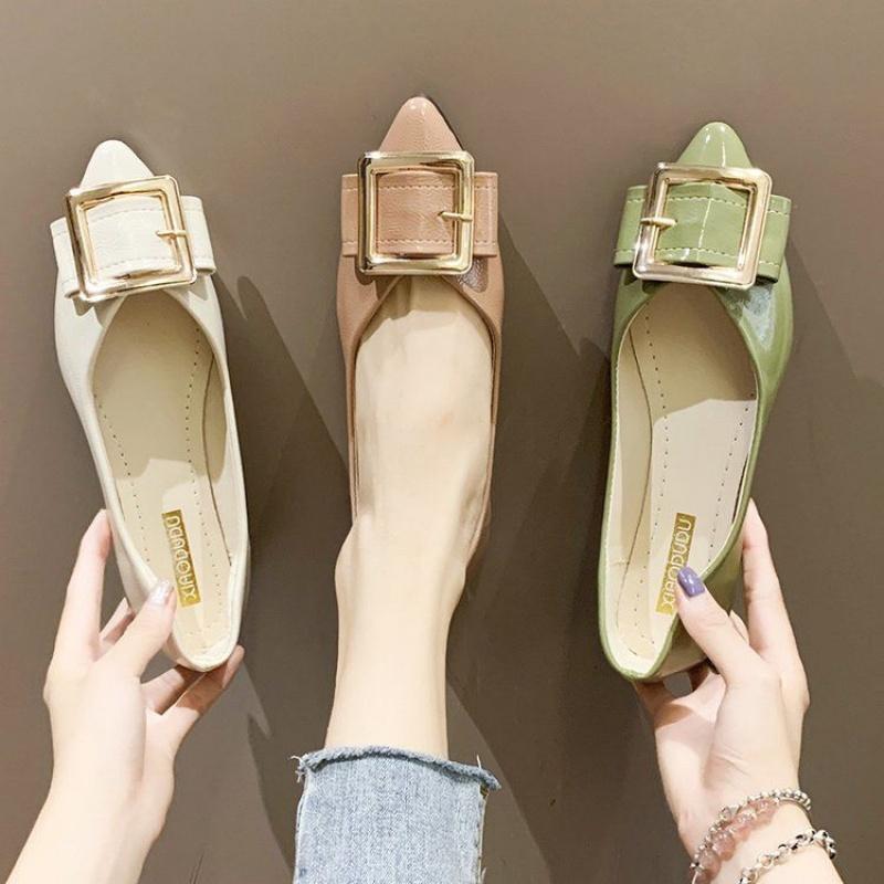 257夏季单鞋韩版浅口尖头一脚蹬套脚女单鞋仙女风平底鞋休闲女鞋