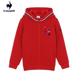 【A】乐卡克法国公鸡秋季加绒保暖柔软运动带帽拉链开衫儿童外套