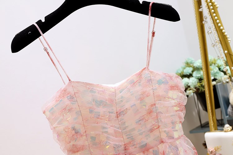 Salt can be sweet, very immortal, small spring summer powder, sequins, lace splicing, medium long sling, first love Platycodon dress.