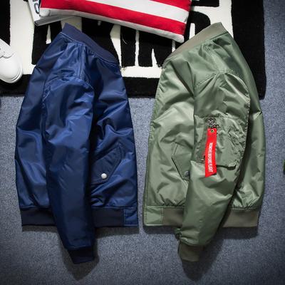 秋冬季韩版纯色飞行员夹克百搭外套宽松棒球服潮男女情侣加厚棉衣