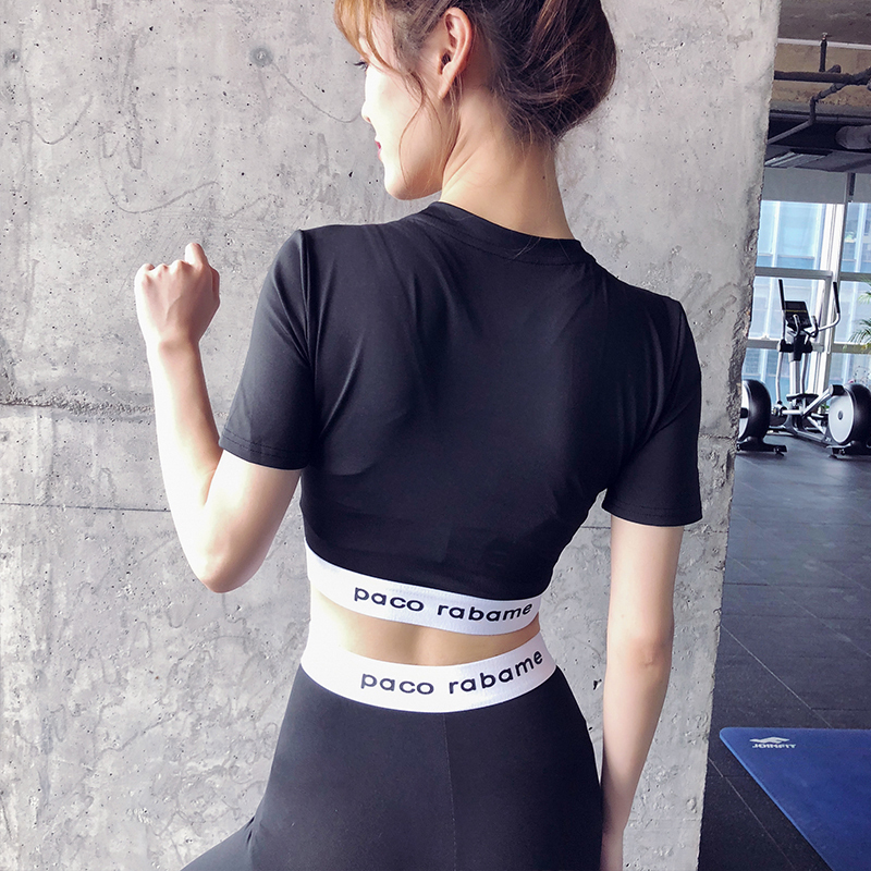 秋季短袖T恤健身服套装女九分踩脚裤运动跑步普拉提瑜伽速干时尚(用10元券)