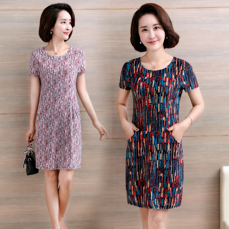 中老年女装夏季新款冰丝短袖连衣裙妈妈装中长款中年妇女大码裙子