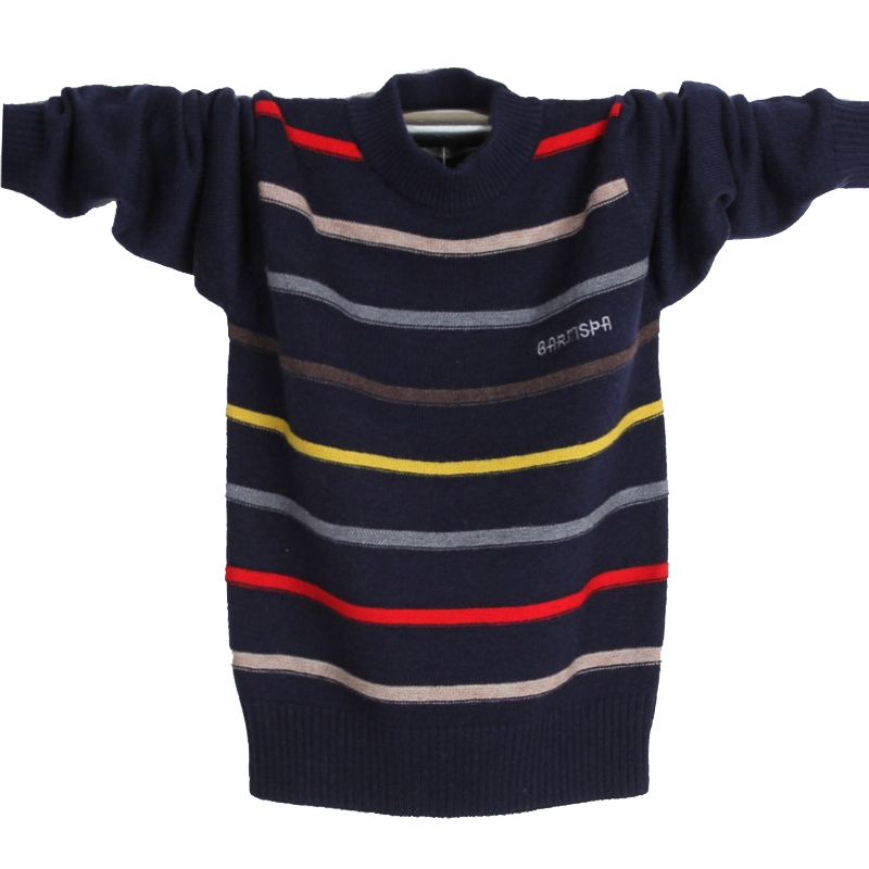 Autumn and Winter Youth sweater crew neck striped big boy sweater