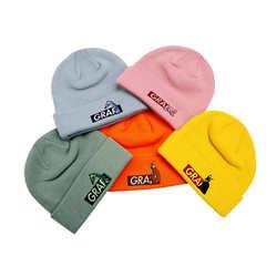 GRAF原创品牌BOXLOGO玉绿橘色雾霾蓝猪猪粉新五色秋冬针织线帽