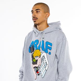 GRAF原創品牌x插畫師XIETU藝術家俱樂部毛線刺繡冬加絨帽衫灰天使