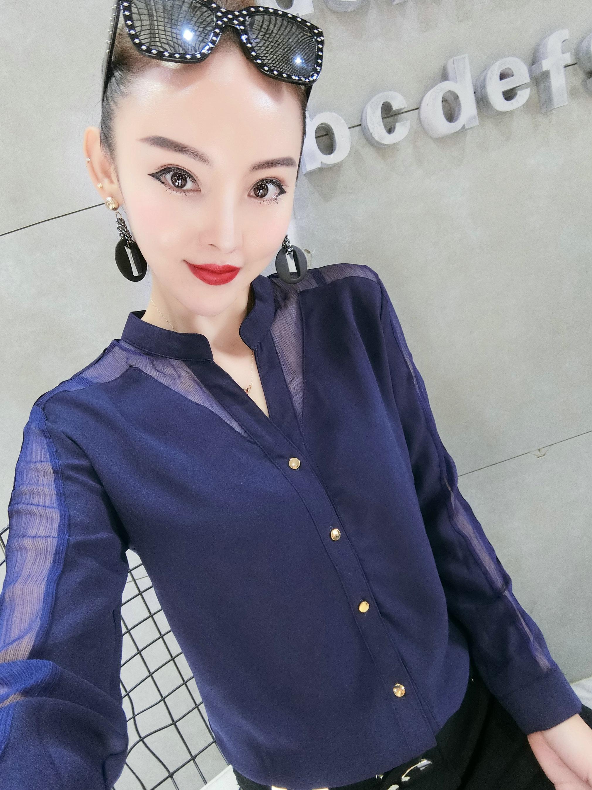 欧货女士衬衫2019新款时尚纯色气质上衣立领修身百搭精品女装潮货