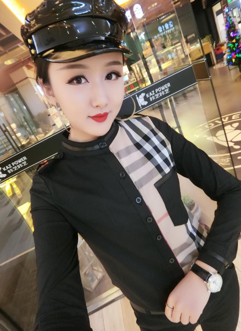 欧洲站2019年新款女式衬衫立领修身显瘦气质打底衫百搭精品女装潮