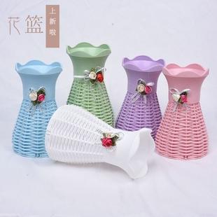 小花籃塑料仿藤編歐式花瓶擺件客廳插乾花花瓶迷你仿真花束裝飾瓶
