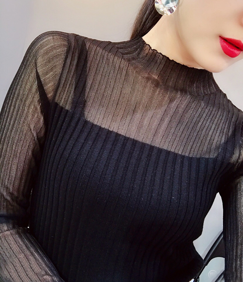 T-shirt womens slim fitting long sleeve half high neck stitching mesh bottom shirt top lace cut out thin style sweater