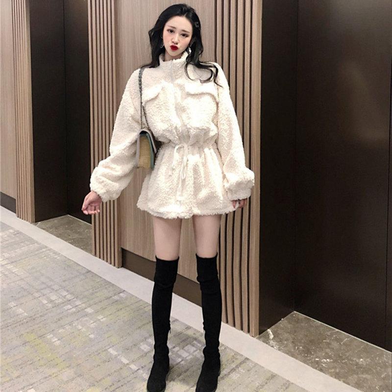 秋冬装韩版宽松复古拉链百搭中长款毛绒外套加厚收腰立领羊羔服女