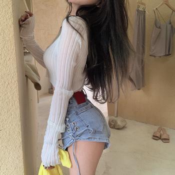 夏长袖防晒短款v领镂空薄款针织衫