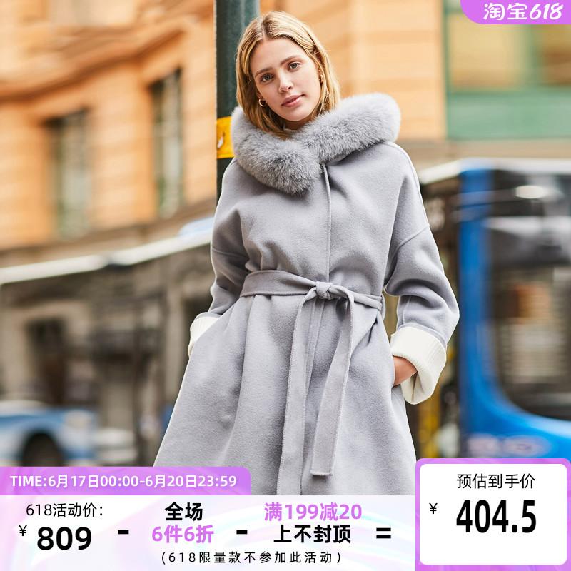 绫致Vero Moda新款纯羊毛双面呢狐狸毛领毛呢大衣319327530