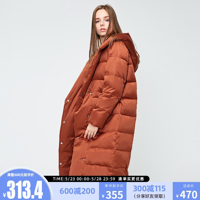 绫致Vero Moda春季含鸭绒亮面按扣连帽面包羽绒服女318412508