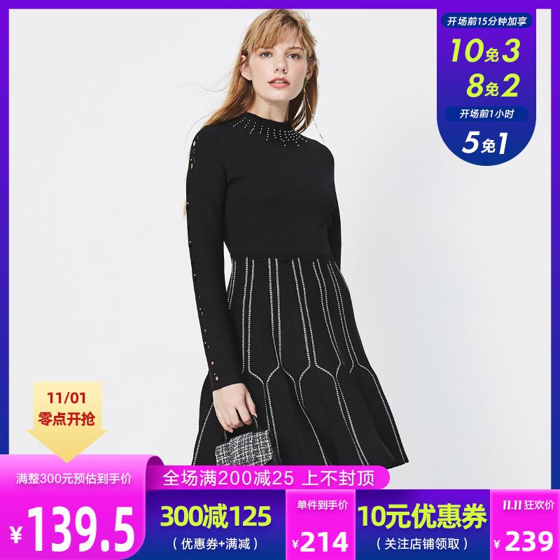 绫致ONLY新款时尚A字收腰显瘦针织连衣裙女119346522