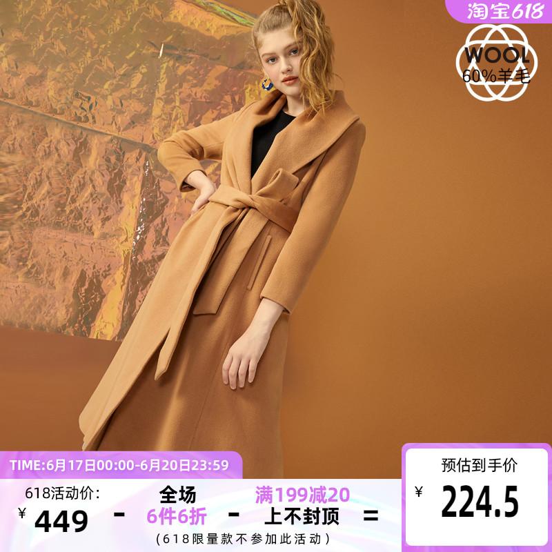 绫致Vero Moda含60%羊毛修身翻领毛呢大衣女|319327504