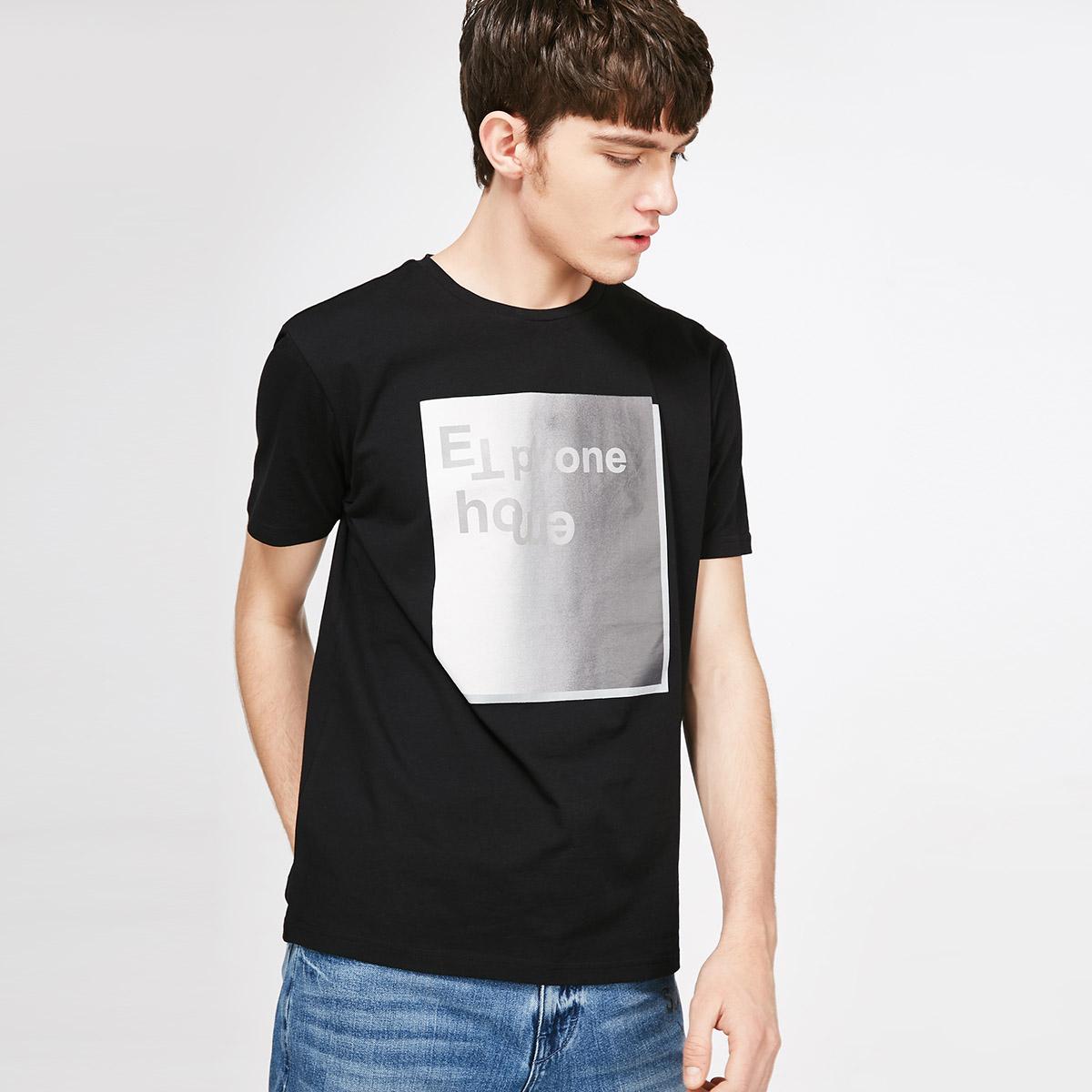 Jack Jones/杰克琼斯男纯棉字母印花短袖T恤2181T4554