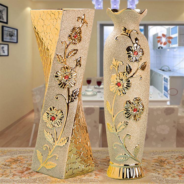 客厅房间电视柜装饰插花干花欧式落地大花瓶金色陶瓷花瓶可装水