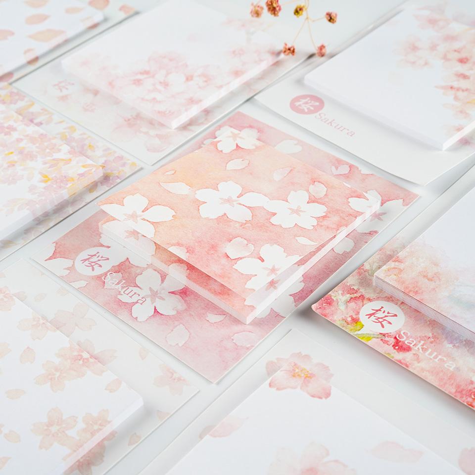 限2000张券樱花水彩日式文艺和风盐系便利贴