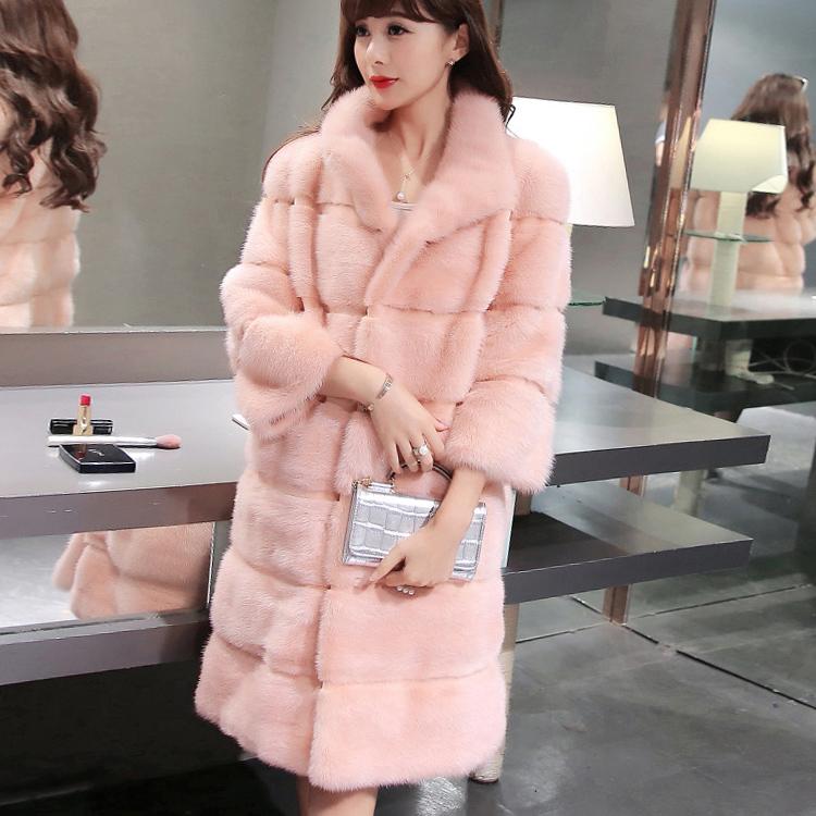 Imitation fur mink coat womens medium length 2020 new winter Korean stand collar mink coat womens special clearance