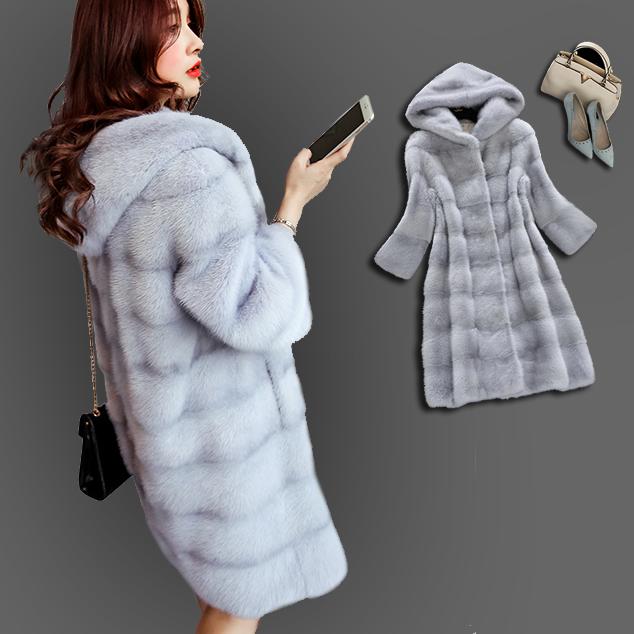仿水貂绒皮草外套女2020新款冬季中长款修身显瘦貂皮大衣整貂连帽