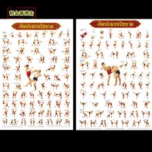 泰国进口古泰拳海报动作图108式招式壁画拳馆装饰画武馆挂画壁纸