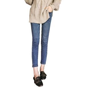 高腰九分加絨加厚緊身牛仔褲女復古藍八分145cm150矮小個子小腳褲