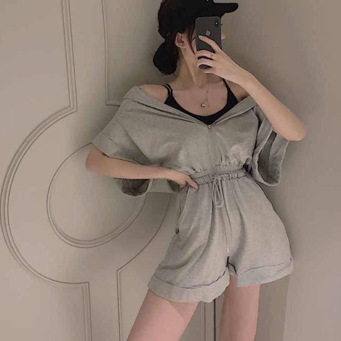 韩风短袖连帽连体短裤系带收腰阔腿裤夏休闲裤子女2077#(官图)