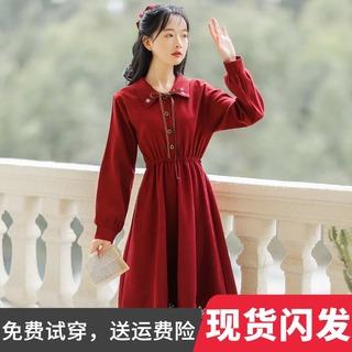 秋季新款小众设计女装学院风法式复古小个子红色连衣裙秋冬打底裙