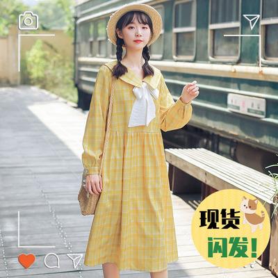 2020新款裙子甜美仙女超仙森系小清新學生長袖娃娃領連衣裙女春秋