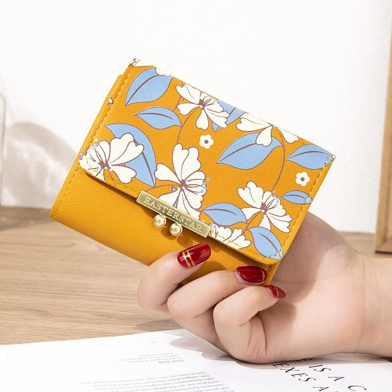 珍珠新款迷你小零钱包三折短款可爱少女五金花朵钱夹韩版学生个性
