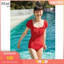 太平鸟红色短袖方领连体泳衣女2020夏季新款性感度假风碎花泡泡袖