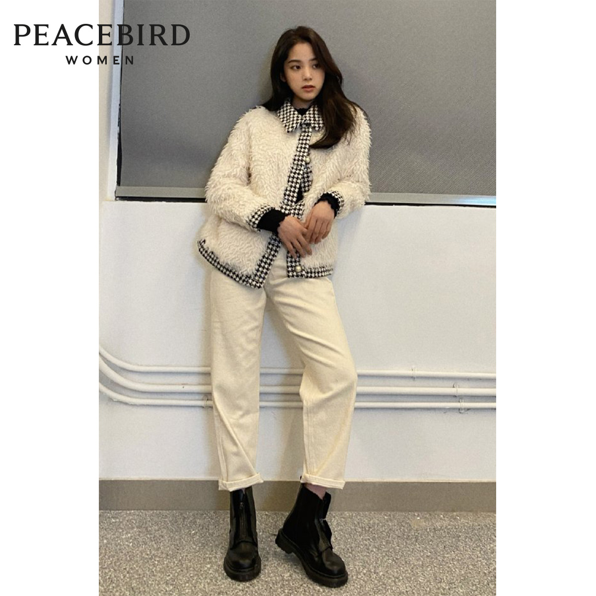 The same style Peacebird 2020 winter new fashion ladies houndstooth stitching fur coat women