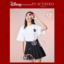 Disney Mickey and Taiping bird T-shirt women's new white half sleeve loose short sleeve in early spring 2020