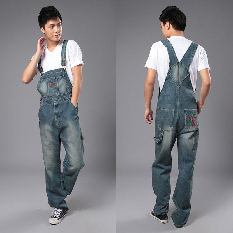 男款牛仔背带长裤宽松大码连体工装裤复古怀旧多包休闲超肥超大款