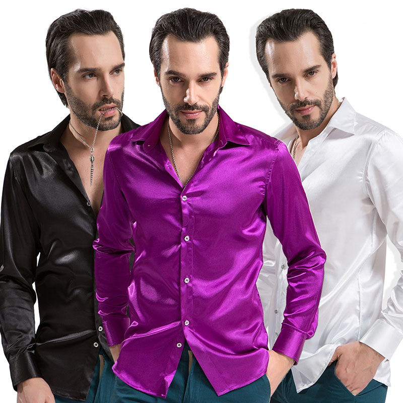 Bright imitation silk shirt mens long sleeve slim smooth material Korean fashion handsome black elastic satin shirt