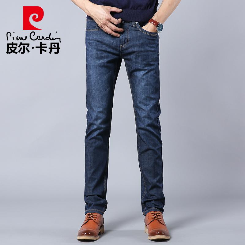 皮尔卡丹冰丝牛仔裤男直筒浅色超薄水洗修身薄款夏季青年正品裤子