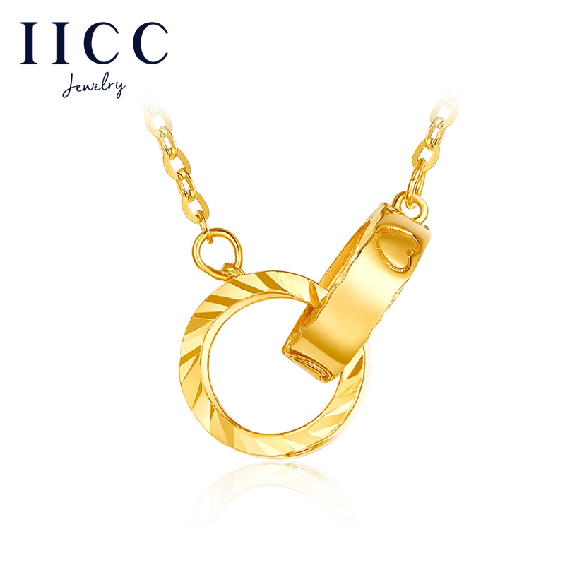 IICC gold chain 999 full gold double ring necklace womens 5g pure gold pendant chain for girlfriend gift