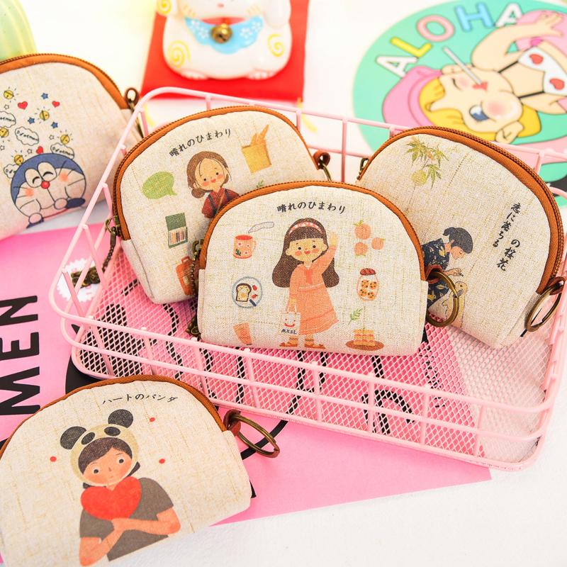 韩国卡通硬币零钱包女小迷你帆布艺可爱钥匙包零钱袋学生钱包短款