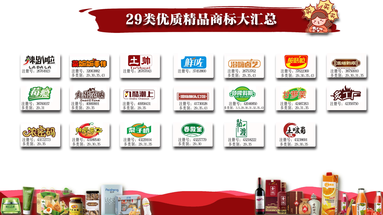 29类注册商标转让R标出售坚果食用油牛奶腌制蔬菜肉海鲜水产品