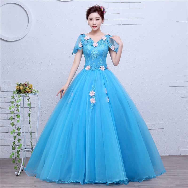 2020 new color wedding dress solo dress pompous skirt vocal chorus art test host long skirt