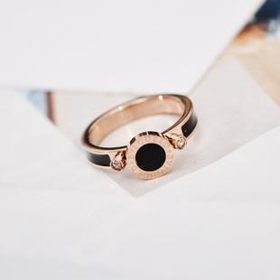 精品個性黑色圓形女款鍍玫瑰金指環