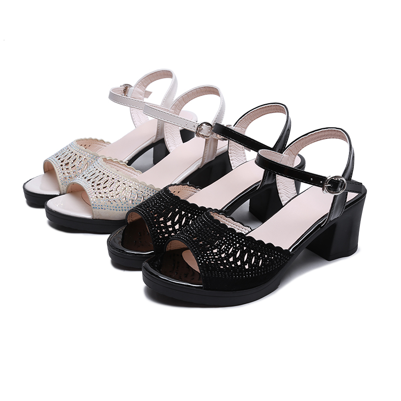 Mom sandals women summer 2020 new thick heel fashion versatile comfortable middle-aged lady sandals 3040 years old