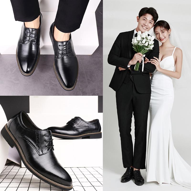 2021款新郎结婚拍婚纱照礼鞋韩版英伦商务休闲皮鞋男士配西装伴郎