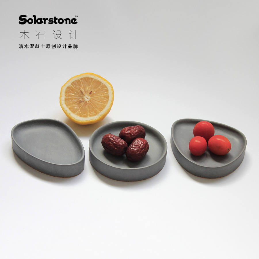 Nordic style geometric cement assorted plate fried melon seed plate office storage KTV decorative concrete wood stone
