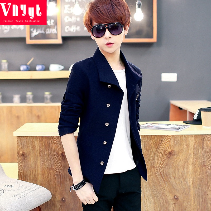 Young Korean slim fit suit mens British coat casual suit fashion top spring and autumn thin suit