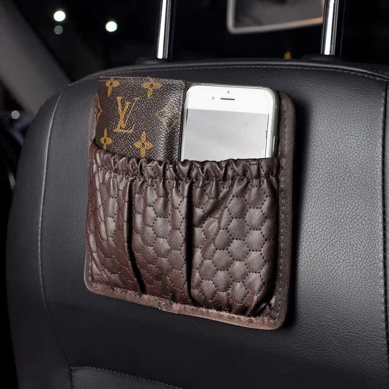 多 車用手機置物網兜車內收納汽車用品車載置物袋儲物格雜物盒