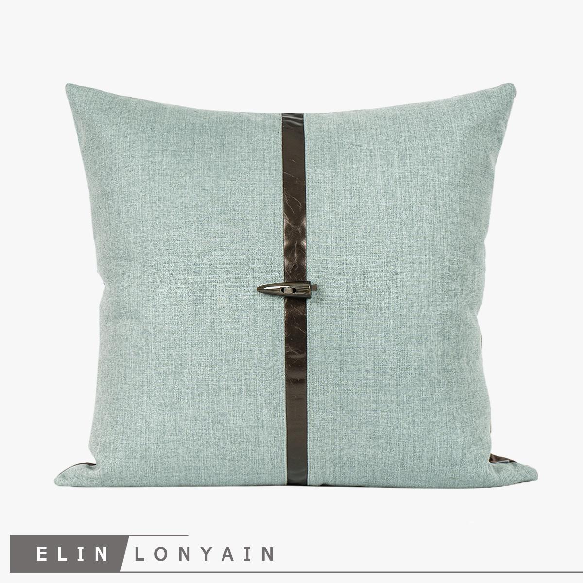 新品现代简约轻奢绿色棉麻中式肌理羊角扣靠垫抱枕别墅样板房方枕