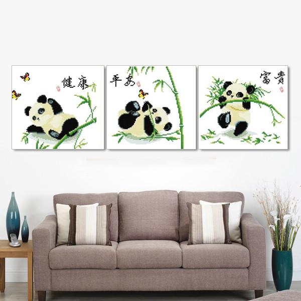 Крест стежка точность печати Триптих повезло самбо гостиная спальня большой новый мультфильм панда